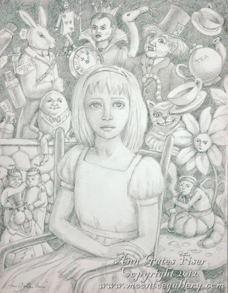 """Alice Had a Terrible Awful No Good Day""  12"" x 9"" Graphite"